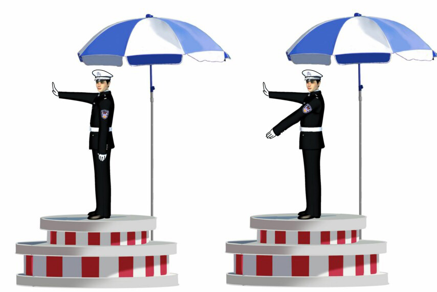 這一組交通警察手勢是什么信號?A、靠邊停車信號B、左轉彎待轉信號C、左轉彎信號D、右轉彎信號答案是C