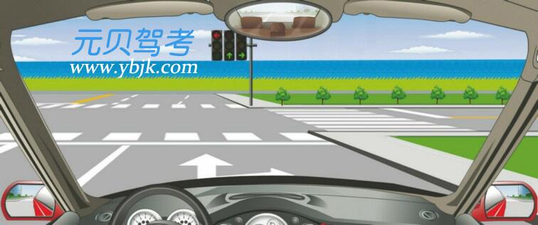 这个路口允许车辆怎样行驶?A、向左、向右转弯B、直行或向左转弯C、向左转弯D、直行或向右转弯答案是D