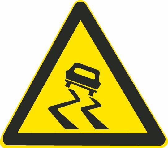 这个标志是何含义?A、急转弯路B、易滑路段C、试车路段D、曲线路段答案是B