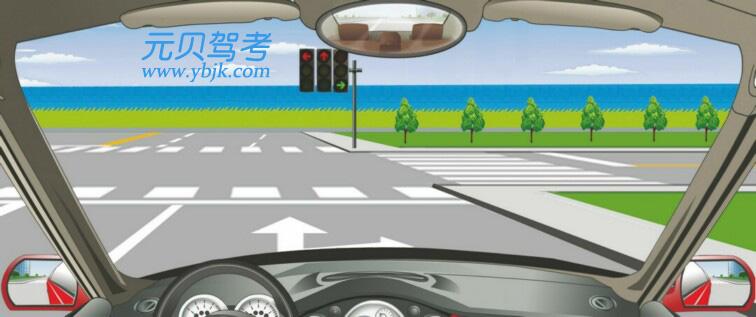 这个路口允许车辆怎样行驶?A、直行B、向右转弯C、直行或向左转弯D、向左转弯答案是B