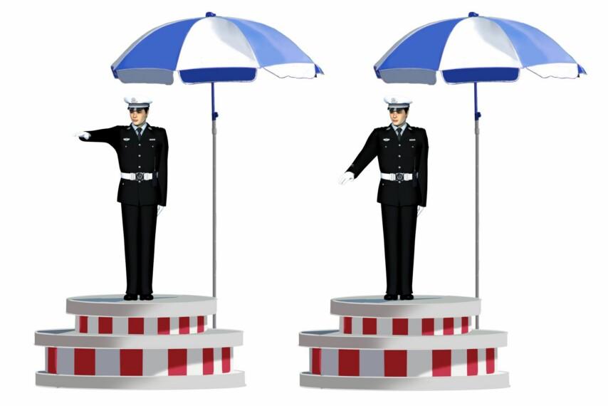 这一组交通警察手势是什么信号?A、靠边停车信号B、减速慢行信号C、变道信号D、右转弯信号