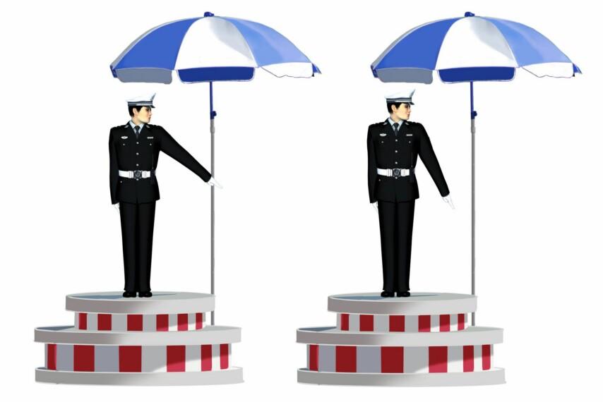 这一组交通警察手势是什么信号?A、左转弯待转信号B、左转弯信号C、减速慢行信号D、右转弯信号