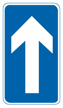 這個標志是何含義?A、靠右側行駛B、不允許直行C、直行單行路D、直行車讓行答案是C
