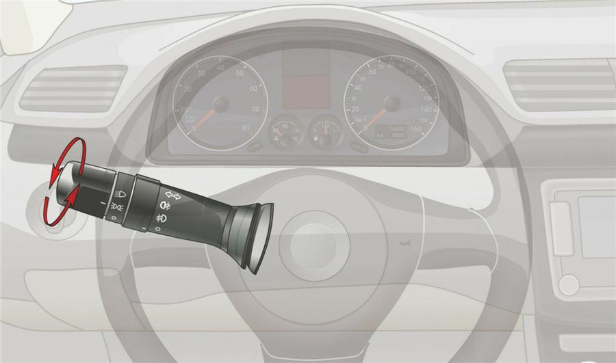 灯光开关旋转到这个位置时,全车灯光点亮。