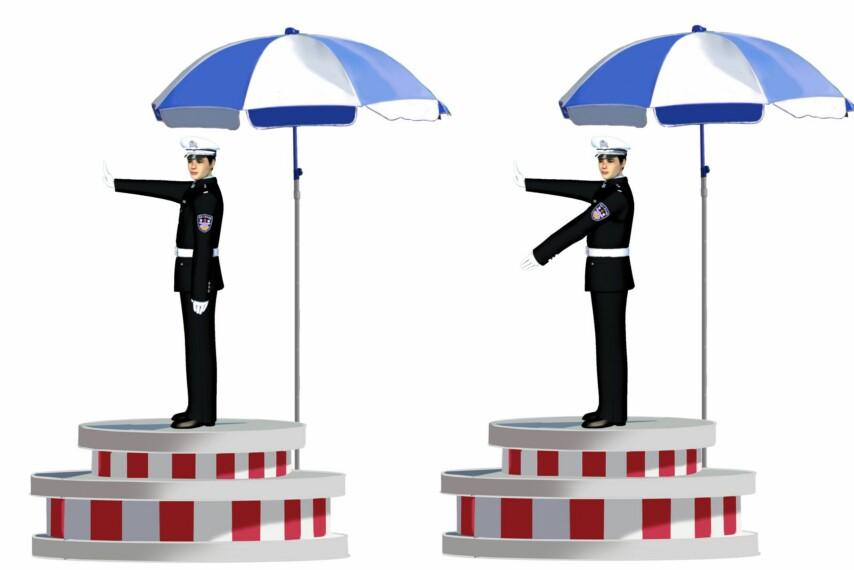 这一组交通警察手势是什么信号?A、靠边停车信号B、左转弯待转信号C、左转弯信号D、右转弯信号
