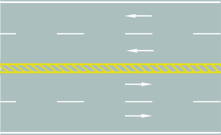 路中心的黃色斜線填充是何含義?A、可跨越對向車道分界線B、雙側可跨越同向車道分界線C、禁止跨越對向車行道分界線D、單向行駛車道分界線答案是C