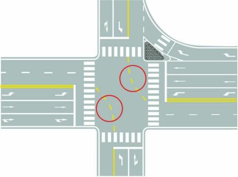 圖中圈內黃色虛線是什么標線?A、路口導向線B、非機動車引導線C、車道連接線D、小型車轉彎線答案是A