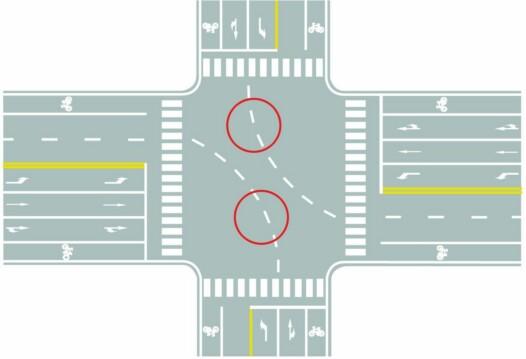 圖中圈內白色虛線是什么標線?A、小型車轉彎線B、車道連接線C、非機動車引導線D、路口導向線答案是D