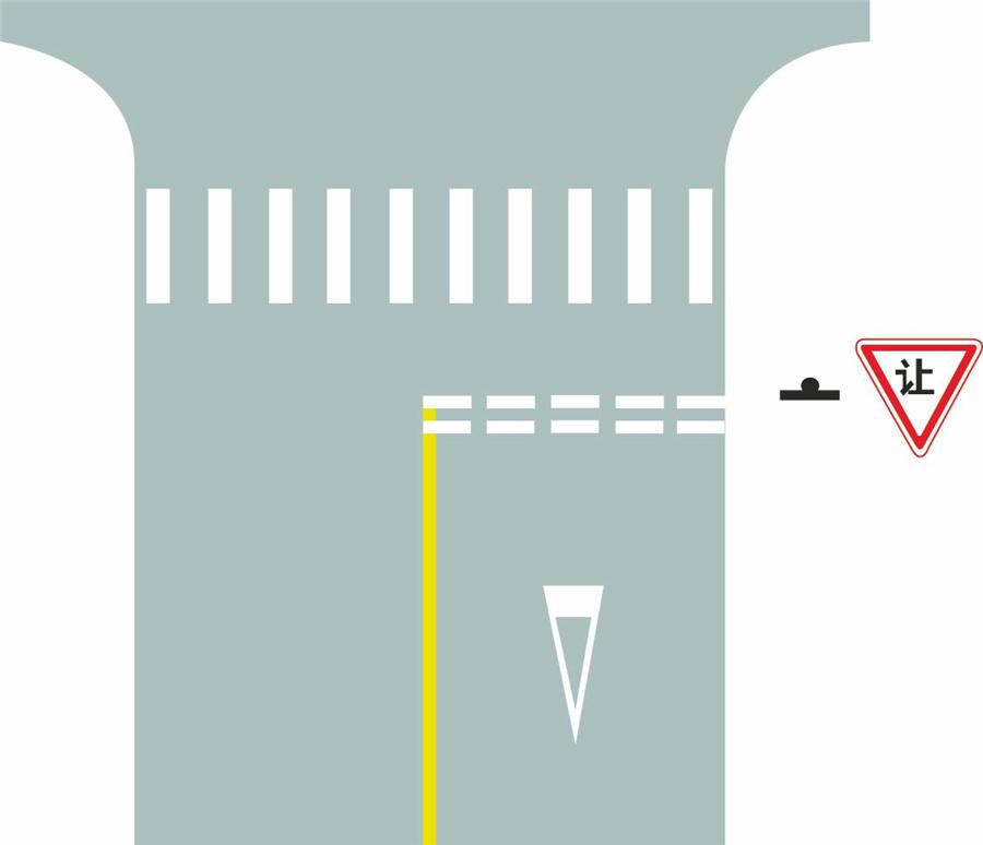 路口最前端的双白虚线是什么含义?A、等候放行线B、停车让行线C、减速让行线D、左弯待转线
