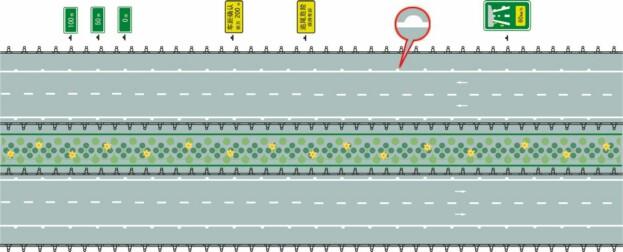 图中圈内的白色半圆状标记是什么标线?A、减速行驶线B、车速确认线C、车距确认线D、路口减速线