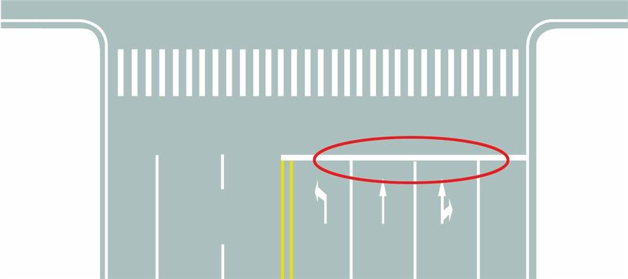 圖中圈內白色橫實線是何含義?A、停止線B、讓行線C、減速線D、待轉線答案是A