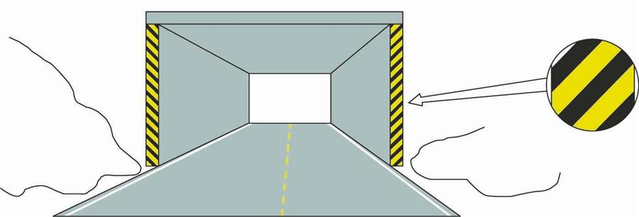 这种黄黑相间的倾斜线条是什么标记?A、减速标记B、实体标记C、突起标记D、立面标记答案是D