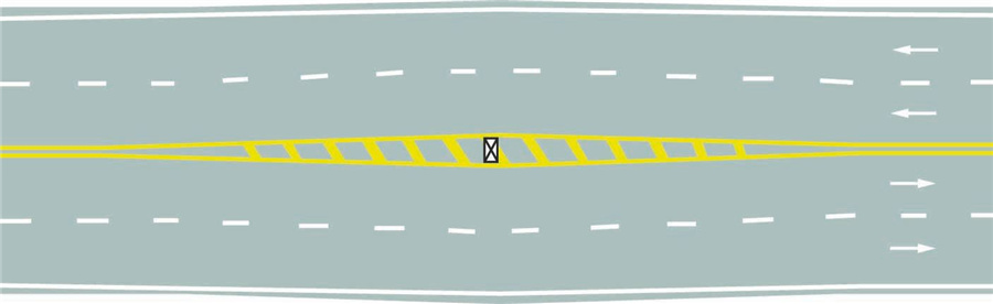 路面上的黄色填充标线是何含义?A、接近移动障碍物标线B、加宽隔离带标线C、接近障碍物标线D、接近狭窄路面标线