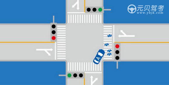 如圖所示,駕駛機動車通過交叉路口時右轉遇到人行橫道有行人通過時,以下做法正確的是什么?A、保持較低車速通過B、停車讓行,等行人通過后再通過C、連續鳴喇叭沖開人群D、確保安全的前提下繞行通過答案是B