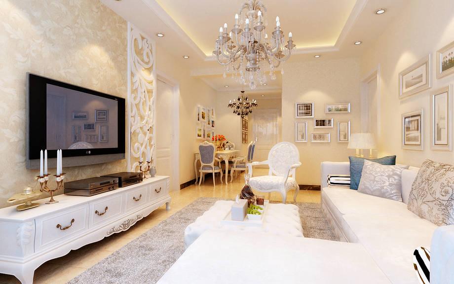 5.8万装修温馨90平米国惠村i户型简约欧式效果图--客厅
