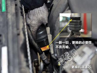 3、换机油的同时,最好也换机油滤芯,折卸机油滤芯   1、拧高清图片
