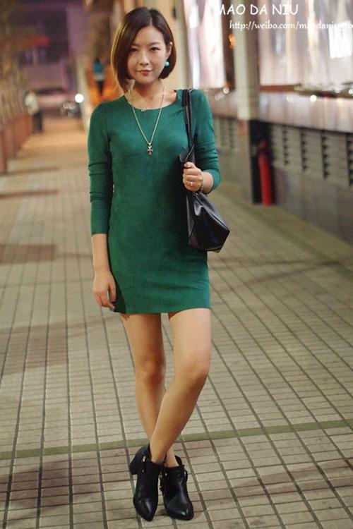 11-02 绿色麂皮连衣裙欧美超黑大包 - 猫大妞 - 猫大妞