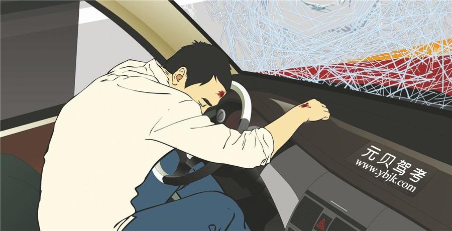 事故中造成这个驾驶人致命伤害的原因是什么?A、没有系安全带B、离转向盘距离过近C、没有握紧转向盘D、安全气囊没有打开答案是A