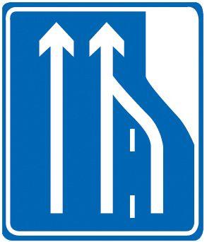 这个标志是何含义?A、向左变道B、车道数变少C、合流处D、应急车道答案是B