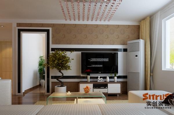 平米-现代简约风格装修-客厅装修效果图-济南实创装饰   经纬