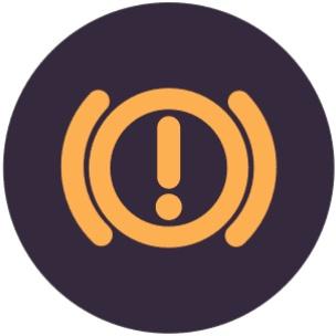 手刹指示灯该指示灯用来显示车辆手刹的状态,平时为熄灭状态。当手刹被拉起后,该指示灯自动点亮。手刹被放下时,该指示灯自动熄灭。有的车型在行驶中未放下手刹会伴随有警告音。