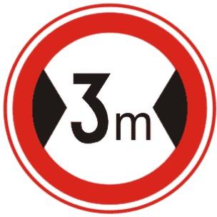 限制寬度表示禁止裝載寬度超過標志所示數值的車輛通行。此標志設在最大允許寬度受限制的地方。 以圖為例:裝載寬度不得超過3米。