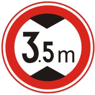 限制高度表示禁止裝載高度超過標志所示數值的車輛通行。此標志設在最大允許高度受限制的地方。 以圖為例:裝載高度不得超過3.5米。