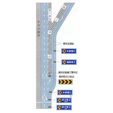 高速公路出口三角地帶附近施工