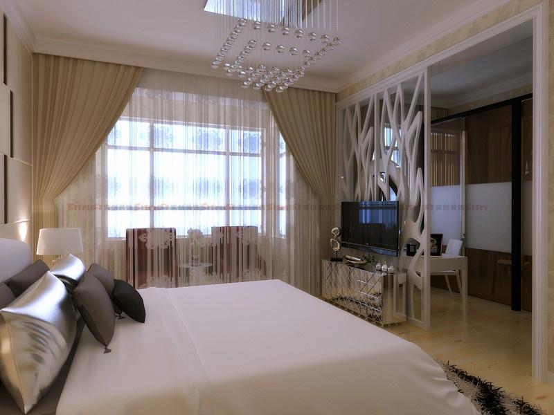 【长沙实创装饰】通用时代国际166平装修效果图-卧室