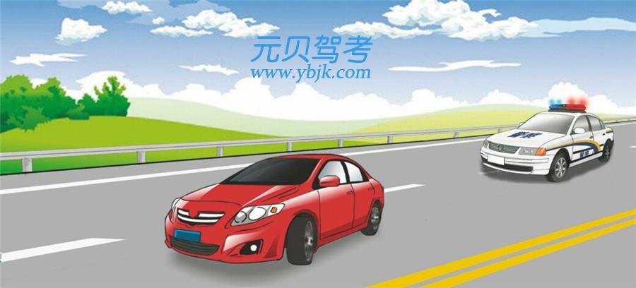 在這種情形中前車怎樣行駛?A、正常行駛B、及時讓行C、開啟危險報警閃光燈行駛D、不得變更車道答案是B