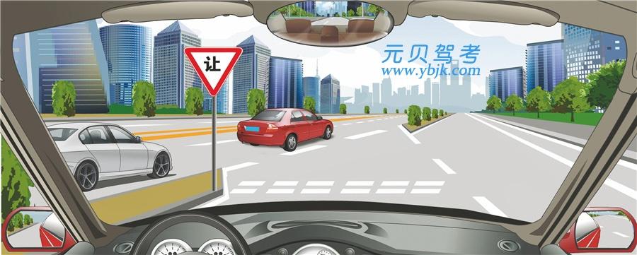 駕駛機動車在這種情況下怎樣匯入主路車流?A、加速直接匯入車流B、從主路內灰色車后匯入車流C、從主路內紅色車前匯入車流D、開啟轉向燈直接匯入車流答案是B