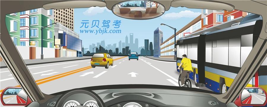 駕駛機動車遇到這種情況怎樣行駛?A、加速從左側超越B、連續鳴喇叭告知C、緊跟在自行車后D、減速避讓自行車答案是D
