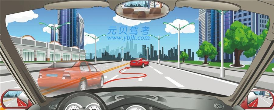 驾驶机动车遇到这种情形怎么办?A、迅速从车左侧超越B、保持较大跟车距离C、连续鸣喇叭告知D、迅速从车右侧超越答案是B