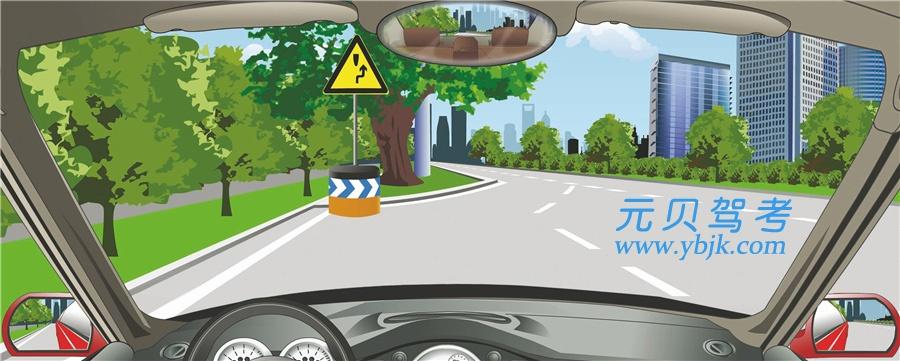 图中标志提醒障碍物在路中,车辆从左侧绕行。答案是错