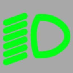 開啟前照燈遠光時儀表板上(如圖所示)亮起。答案是錯