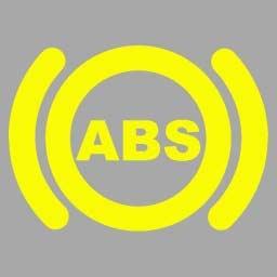 機動車儀表板上(如圖所示)亮時,防抱死制動系統處于打開狀態。