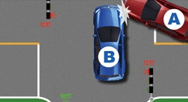 有信號燈的路口右轉車未讓直行的放行車輛