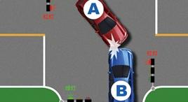 有信號燈的路口左轉車未讓直行的放行車輛