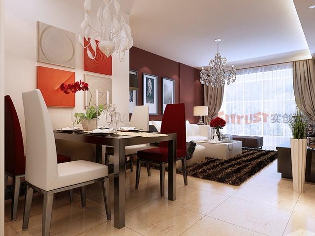 天津实创装饰-现代简约风格-两居室装修效果图-路劲太阳城装
