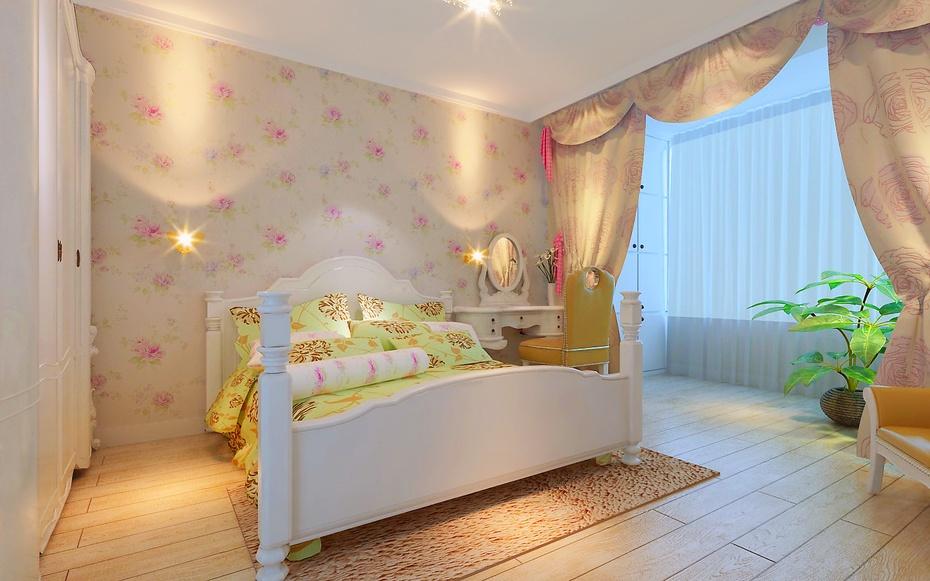 年轻辣妈装修96平米厂洼街小区田园温馨两居--卧室装修效果图