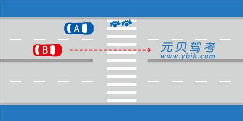 如圖所示,當越過停在人行橫道前的A車時,B車應減速,準備停車讓行。答案是對