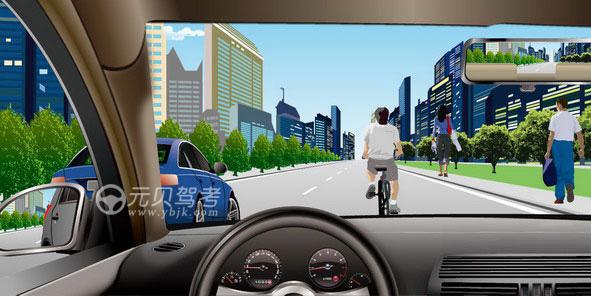 如圖所示,駕駛機動車遇到非機動車占道行駛時,以下做法正確的是什么?A、減速并鳴喇叭提示B、交替變換遠近光燈提示C、加速通過D、持續鳴喇叭催促答案是A
