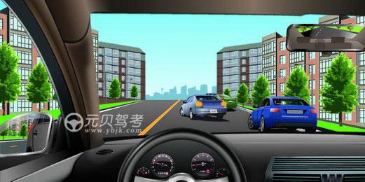 如圖所示,駕駛機動車遇到前方車輛正在停車時,以下做法正確的是什么?A、提前減速并停車等待B、借對向車道超越前車C、鳴喇叭催促前車讓路D、繼續行駛,靠近前車答案是A