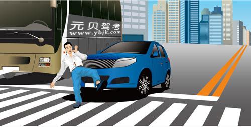 如图所示,造成这起事故的主要原因是机动车未按规定避让行人。答案是对