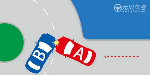 如圖所示,在環島交叉路口發生的交通事故中,應由A車負全部責任。答案是對