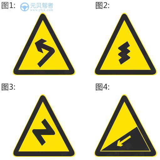下列哪个标志提示驾驶人下陡坡?A、图1B、图2C、图3D、图4答案是D