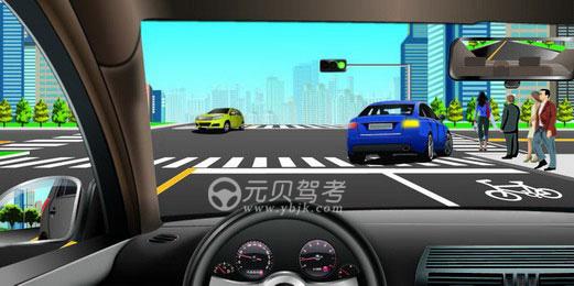 如圖所示,駕駛機動車跟隨前車右轉彎時,應當注意的是什么?A、前面的車可能停下B、右側視野盲區內可能有自行車直行C、行人可能突然進入本車前的人行橫道D、直行的黃色車輛可能影響本車右轉彎答案是ABC