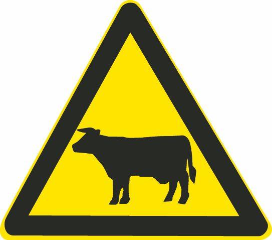 这个标志是何含义?A、大型畜牧场B、野生动物保护区C、注意野生动物D、注意牲畜答案是D