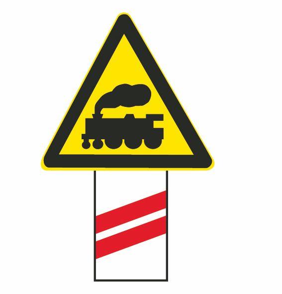 這個標志是何含義?A、距無人看守鐵路道口50米B、距有人看守鐵路道口50米C、距無人看守鐵路道口100米D、距有人看守鐵路道口100米答案是C