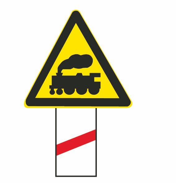 這個標志是何含義?A、距無人看守鐵路道口50米B、距有人看守鐵路道口50米C、距無人看守鐵路道口100米D、距有人看守鐵路道口100米答案是A